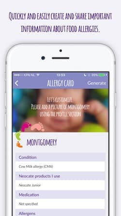 Create and share food allergy card with app