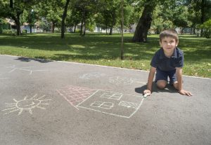Visualize social distancing with chalk